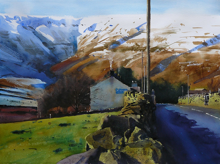 Road and building in front of steep, moorland backdrop. Painting by Paul Talbot-Greaves
