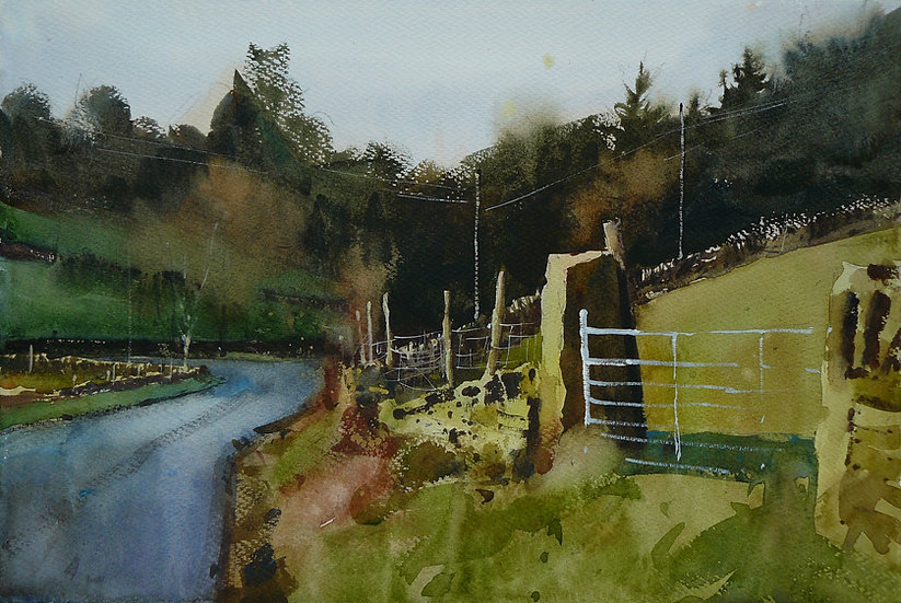 Old gatepost and fence. Trees behind. Painting by Paul Talbot-Greaves