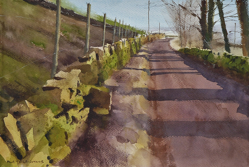Landscape with pink tint in late sun. Painting by Paul Talbot-Greaves