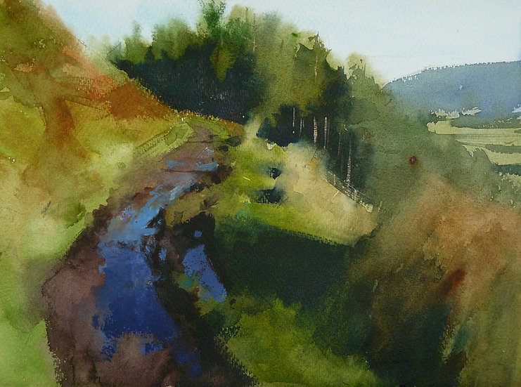 Painting by Paul Talbot-Greaves of a path on a hillside winding towards trees.