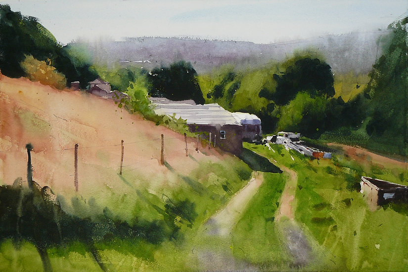 Summer trees and old yard buildings. Sunlight. Painting by Paul Talbot-Greaves