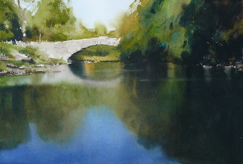 Bridge and trees reflected in a still water river. Painting by Paul Talbot-Greaves