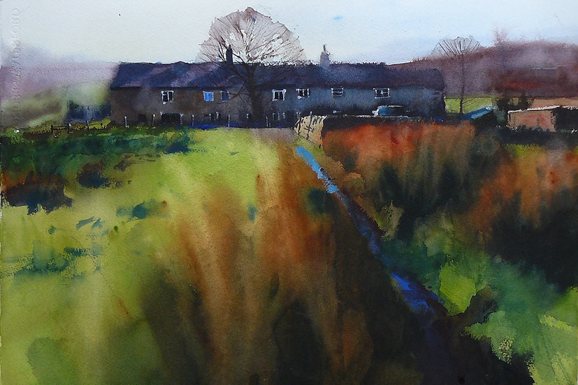 Soft rushes, reflective blue on path. Yorkshire cottages in background. Painting by Paul Talbot-Greaves