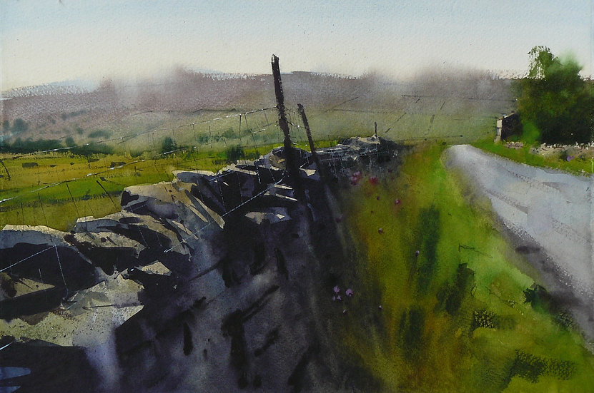 Hazy summer atmosphere, wall and road receding. Painting by Paul Talbot-Greaves