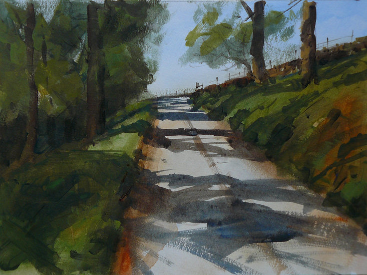 Autumn afternoon. Track through trees with shadows. Painting by Paul Talbot-Greaves