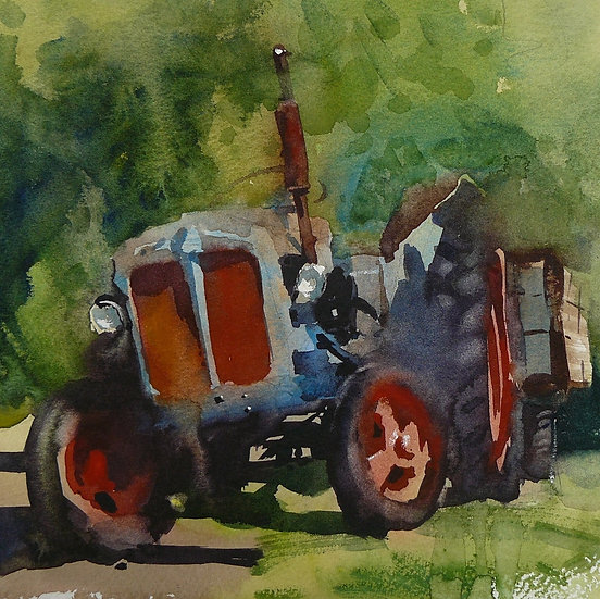 Old blue and red tractor against summer trees. Greetings card by Paul Talbot-Greaves