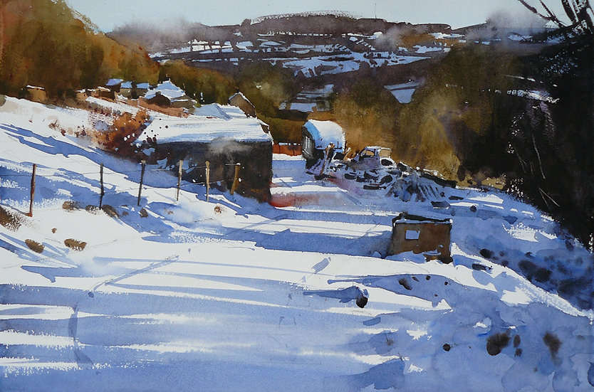 Fresh snow with strong shadows. Looking at small buildings with a hillside behind. Painting by Paul Talbot-Greaves