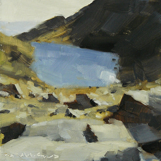 Mountain terrain, boulders in front with tarn and crags. Painting by Paul Talbot-Greaves