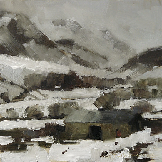 Snowy mountain scene, barn in front. Painting by Paul Talbot-Greaves
