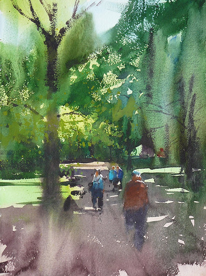Figures strolling up and down a park avenue. Painting by Paul Talbot-Greaves