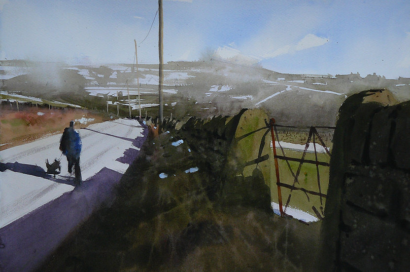 Figure walking dog. Wintery day. Painting by Paul Talbot-Greaves
