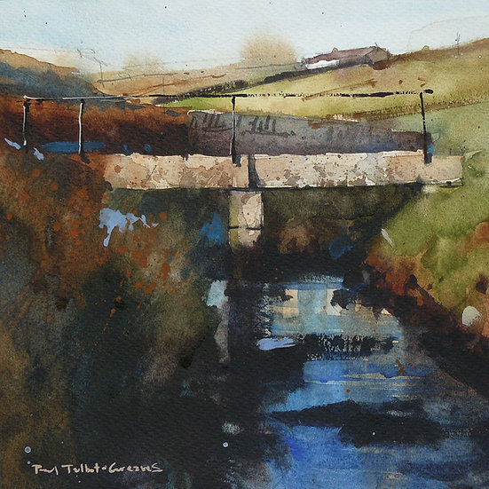 Old stone footbridge over stream. Painting by Paul Talbot-Greaves