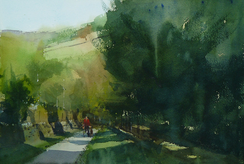 Figure emerging from summer woodland. Painting by Paul Talbot-Greaves