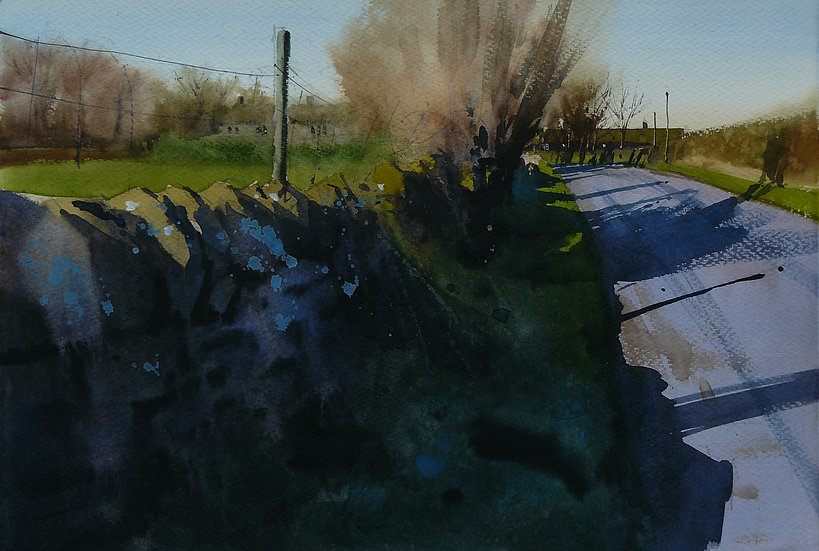 Strong light from the left with deep shadow cast from a wall. Painting by Paul Talbot-Greaves