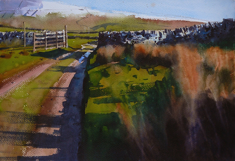 Grass, lane and an open gate to the distance. Painting by Paul Talbot-Greaves