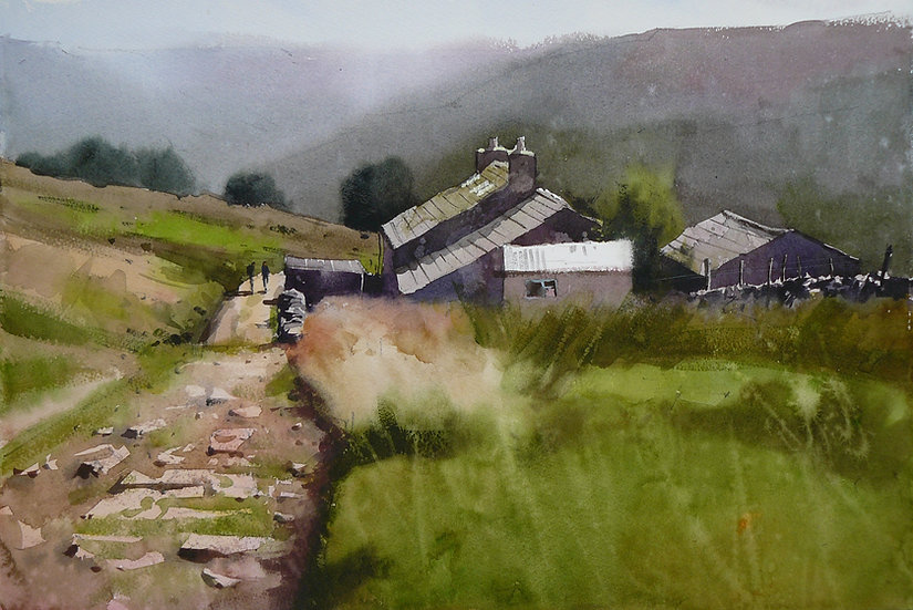 Old cottage on a hillside. Distant views beyond. Painting by Paul Talbot-Greaves