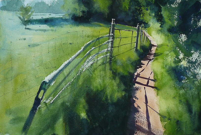 Cool greens with thin winding path towards dark trees. Painting by Paul Talbot-Greaves