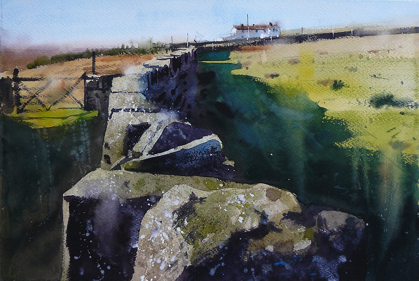Looking along a wall on the Yorkshire moors. Painting by Paul Talbot-Greaves