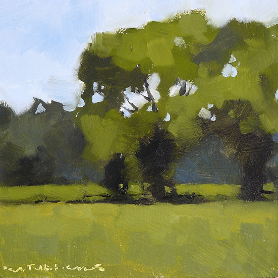 Three summer trees in a meadow. Painting by Paul Talbot-Greaves