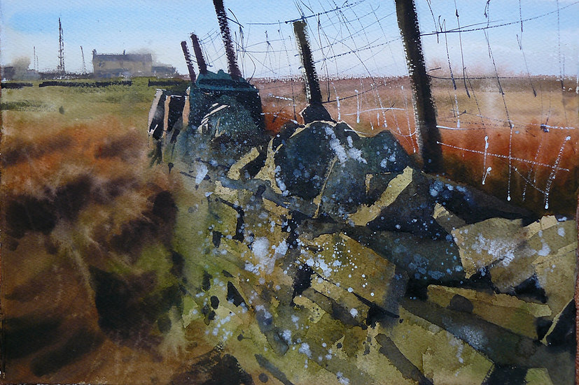 Old textured wall, fenceposts, building in background. Painting by Paul Talbot-Greaves