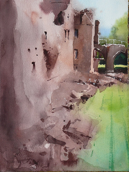 Castle with drawbridge entrance. Painting by Paul Talbot-Greaves