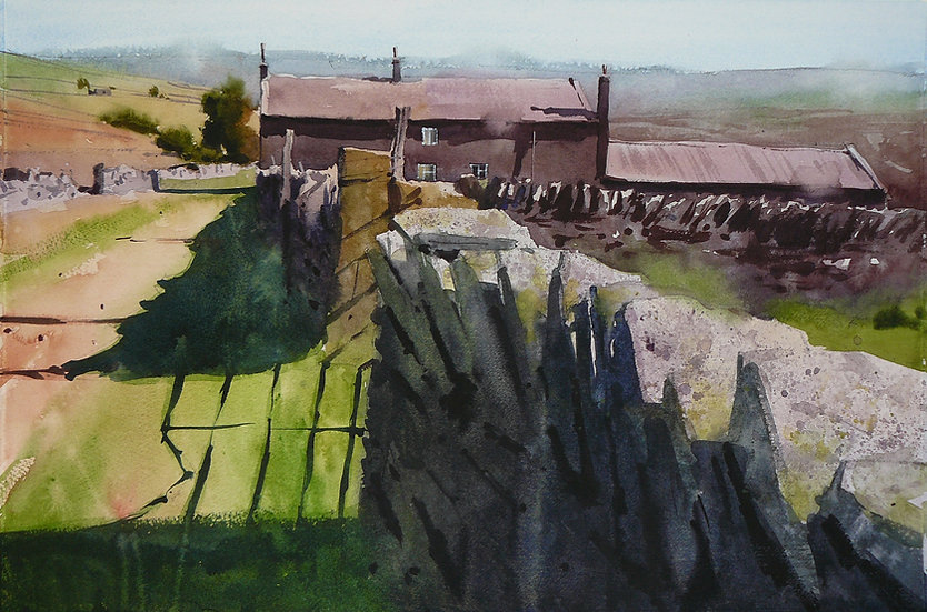 Wall and shadow line leading to old farm building. Painting by Paul Talbot-Greaves