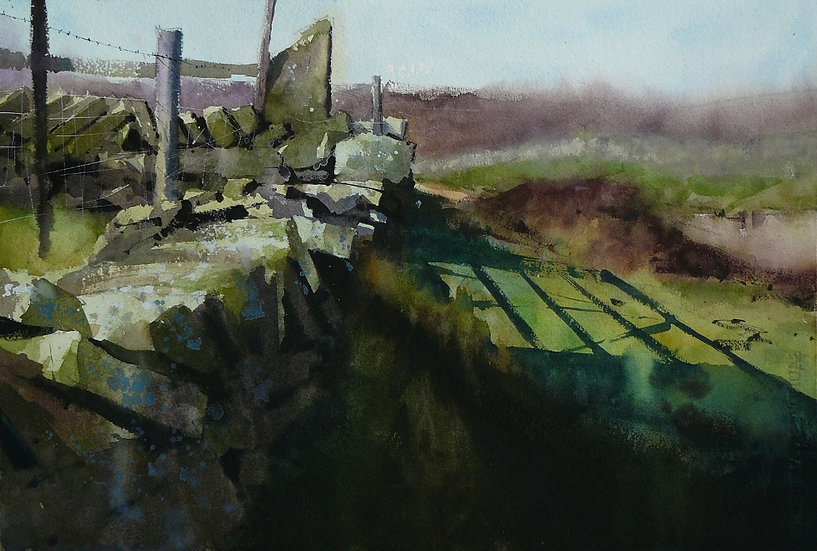 Wall, hidden gate and shadows. Greetings card by Paul Talbot-Greaves
