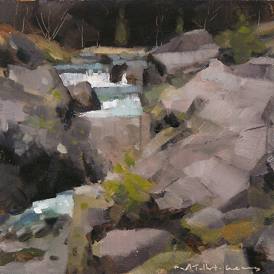 Waterfall cascading over rocks. Painting by Paul Talbot-Greaves