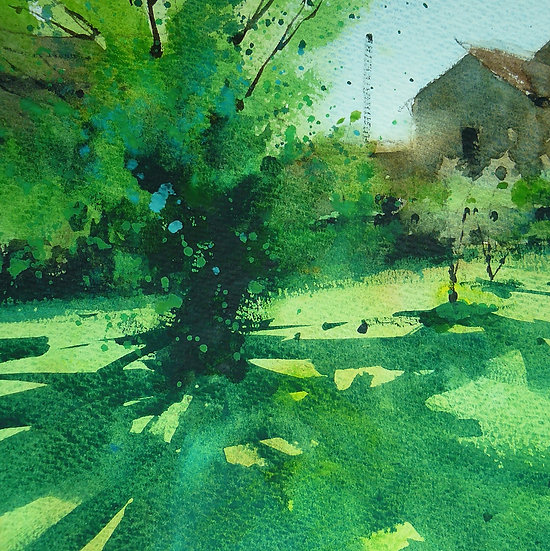 Vibrant greens on a sunny day with tree and cool shadow. Painting by Paul Talbot-Greaves