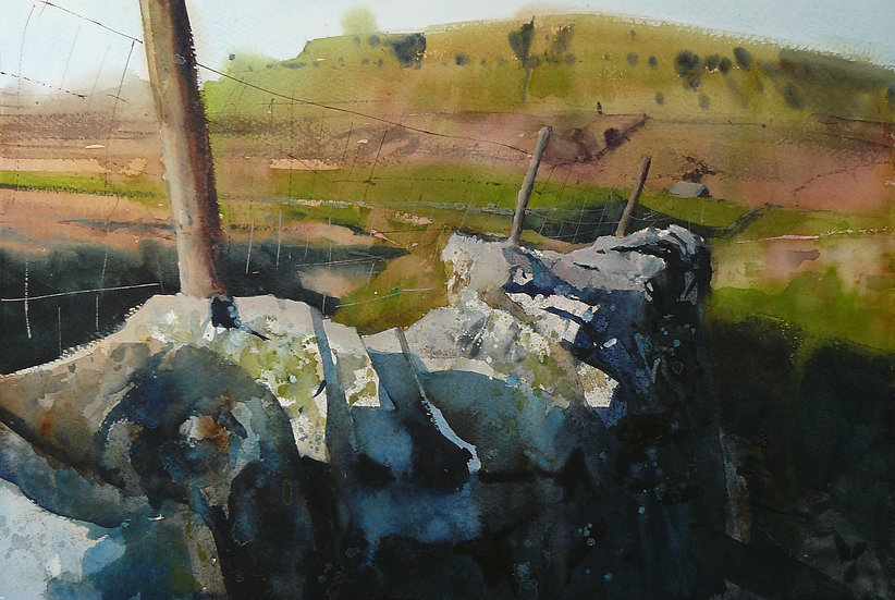 Pen y ghent hill, wall and fenceposts in front. Painting by Paul Talbot-Greaves