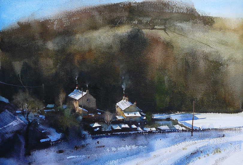 Painting of buildings in the valley bottom with snow on the ground.