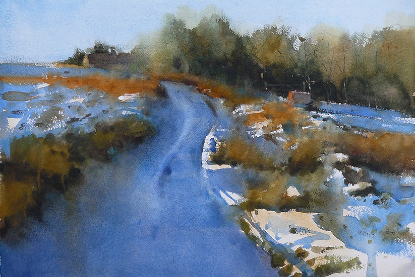 Soft snow and blue shadows on a track. Painting by Paul Talbot-Greaves