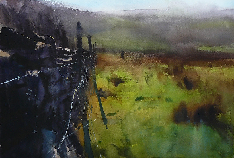 Misty atmosphere. Grassy foreground with wall and posts. Painting by Paul Talbot-Greaves