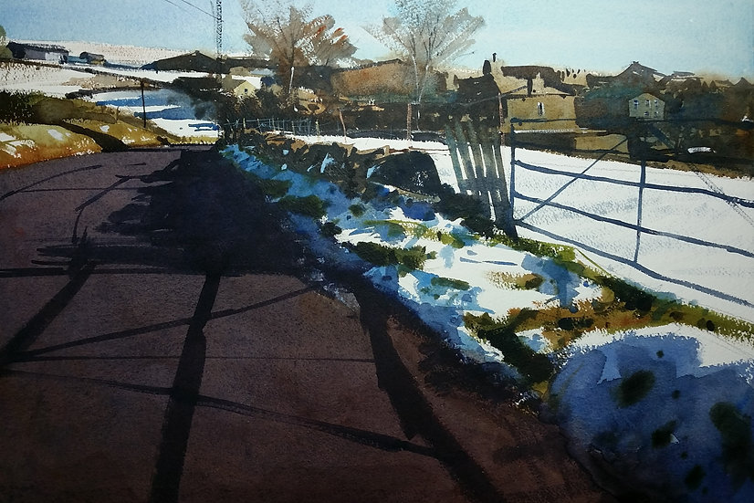 Patches of snow. Sunlight across a road. Painting by Paul Talbot-Greaves