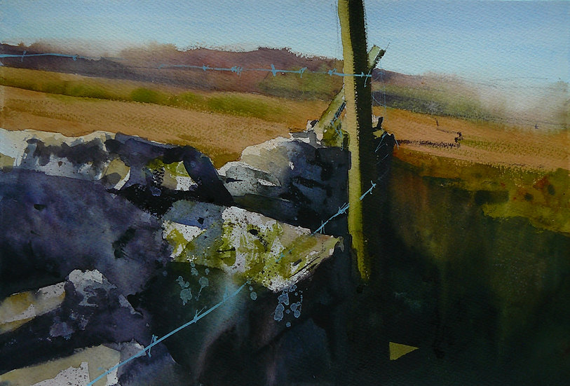 Tumbledown wall, textures and moorland. Painting by Paul Talbot-Greaves
