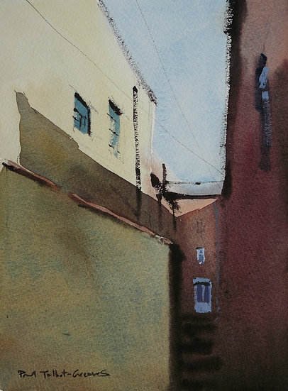 Yard between tall houses. Painting by Paul Talbot-Greaves