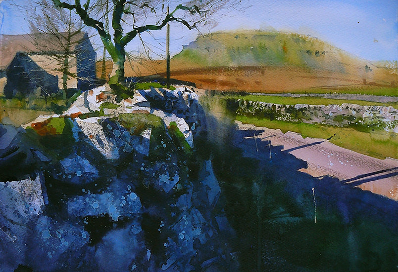 Painting by Paul Talbot-Greaves of Pen y ghent with Dalehead Farm to the left and a wall in front