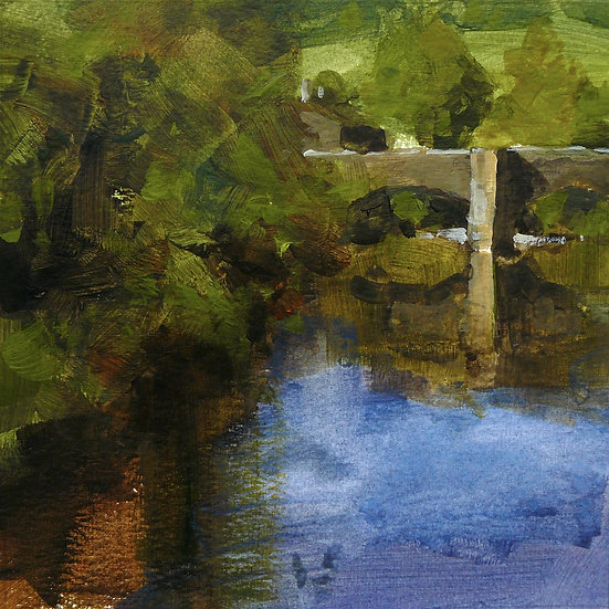View down a river to bridge. Trees on left. Painting by Paul Talbot-Greaves