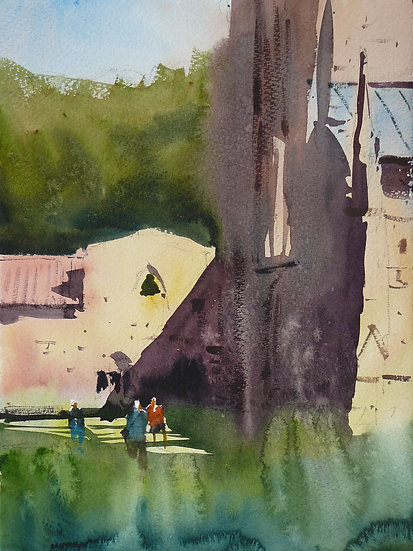 Figures looking round abbey ruins. Painting by Paul Talbot-Greaves