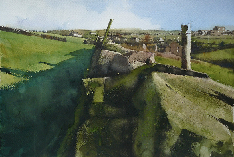 Textures along a drystone wall. Village in background. Painting by Paul Talbot-Greaves