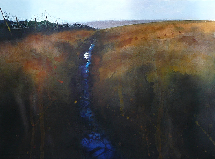 Painting by Paul Talbot-Greaves of moorland with a damp path running through the scene.