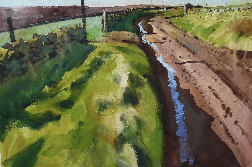 Painting by Paul Talbot-Greaves of a lane on a clear day with sky reflecting in icy puddles