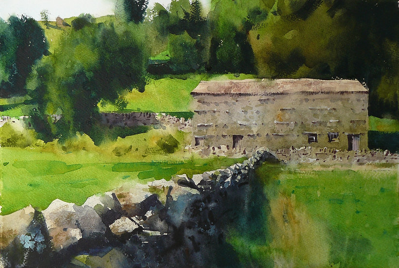 Painting by Paul Talbot-Greaves. Stone barn, meadows in front, trees behind.