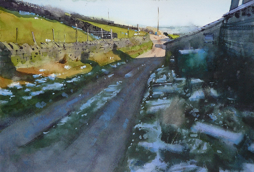 Patches of snow in shadow. Farm building on right. Painting by Paul Talbot-Greaves