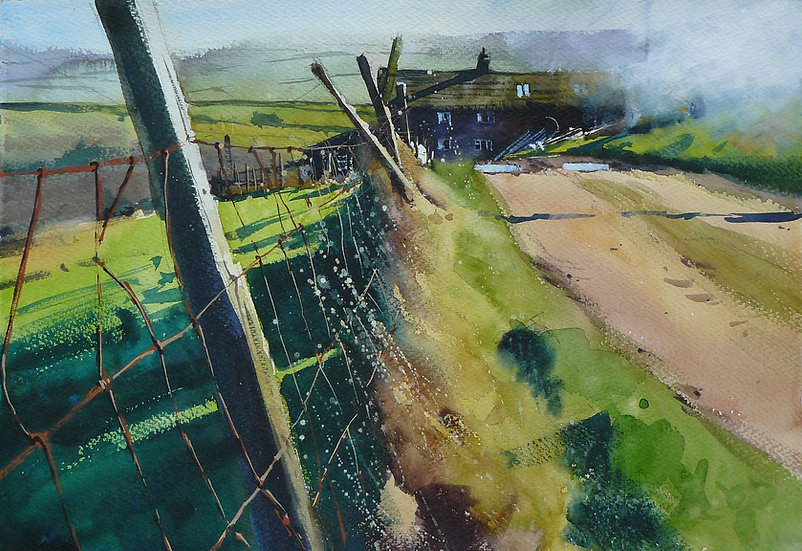 Broken fence leading to old farm. Bonfire smoking. Painting by Paul Talbot-Greaves