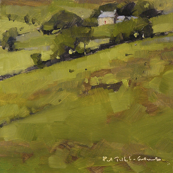Fellside, farmhouse and trees. Painting by Paul Talbot-Greaves
