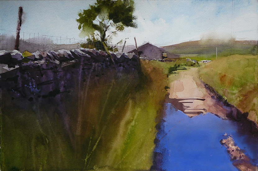 Painting by Paul Talbot-Greaves. wall and barn with bright blue reflection in puddle