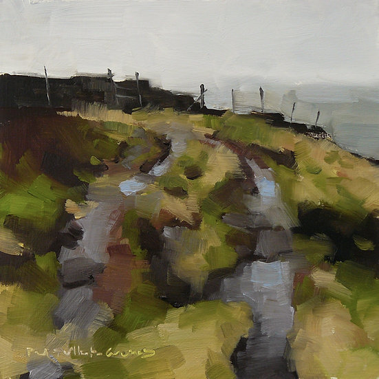 Damp track at the edge of moorland slope. Painting by Paul Talbot-Greaves
