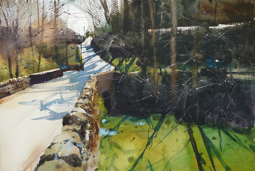 Road over bridge. Looking into light, trees casting long shadows. Painting by Paul Talbot-Greaves