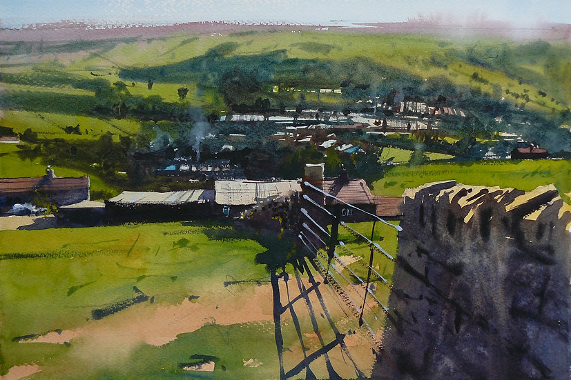 View from high up, looking down to a town. Painting by Paul Talbot-Greaves